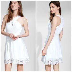 Express White Dress Crossover Crocheted Hem